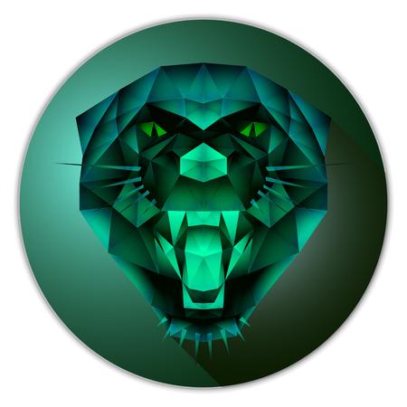 Symmetrisch vector pictogram van een panter. Made in lage poly driehoekige stijl. Emerald edelsteen imitatie.