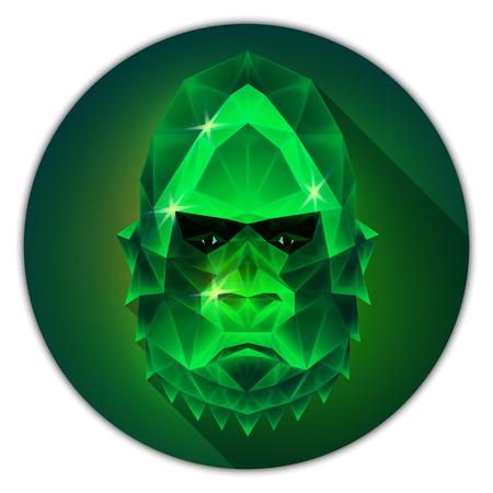 emerald gemstone: Symmetrical vector icon of a gorilla monkey. Made in low poly triangular style. Emerald gemstone imitation.