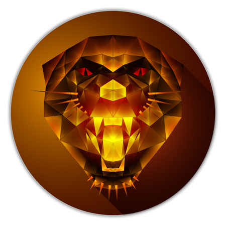 Symmetrical vector icon of a panther. Made in low poly triangular style. Amber gemstone imitation.