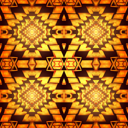 amber: Seamless boho chic pattern with tribal aztec ornament. Made in low poly triangular style. Amber gemstone imitation.