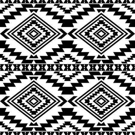 folklore: Boho style seamless pattern with ethnic aztec ornament. Abstract wallpaper in folklore style. Black and white.