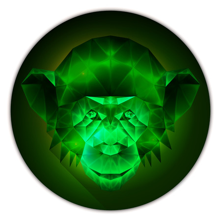 emerald gemstone: Symmetrical vector icon of a chimpanzee monkey. Made in low poly triangular style. Emerald gemstone imitation.