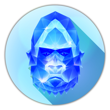 gemstone: Symmetrical vector icon of a gorilla monkey. Made in low poly triangular style. Sapphire gemstone imitation.