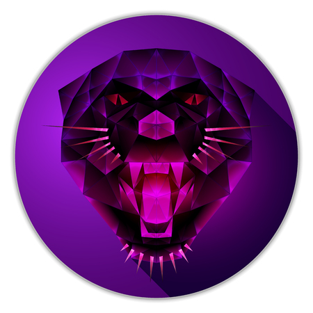 Symmetrical vector icon of a panther. Made in low poly triangular style. Pink topaz gemstone imitation.