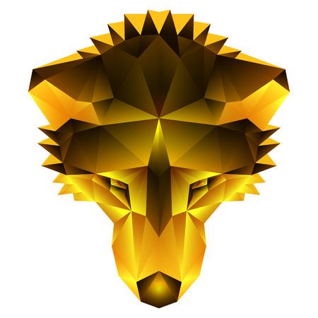 siberian husky: Symmetrical vector illustration of a siberian husky dog. Made in low poly triangular style. Gold imitation.