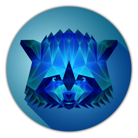 sapphire gemstone: Symmetrical vector icon of a raccoon. Made in low poly triangular style. Sapphire gemstone imitation.