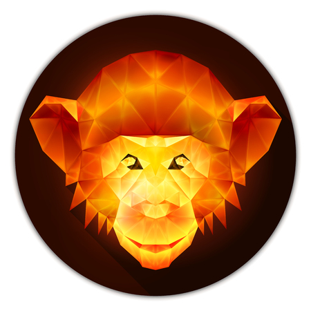amber: Symmetrical vector icon of a chimpanzee monkey. Made in low poly triangular style. Amber gemstone imitation.
