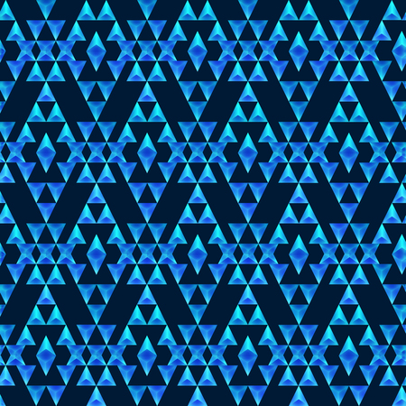 sapphire gemstone: Seamless boho chic pattern with tribal aztec ornament. Made in low poly triangular style. Blue sapphire gemstone imitation.