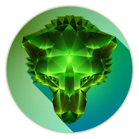 emerald gemstone: Symmetrical vector illustration of a siberian husky dog. Made in low poly triangular style. Emerald gemstone imitation.