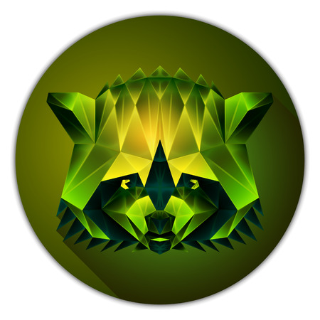 gemstone: Symmetrical vector icon of a raccoon. Made in low poly triangular style. Emerald gemstone imitation.