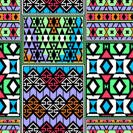folklore: Bright colored seamless boho style pattern combined of different aztec ornaments. Patchwork imitation. Abstract wallpaper in folklore style.