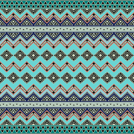 Abstract seamless pattern with tribal aztec motives. Hand drawn boho chic style wallpaper.