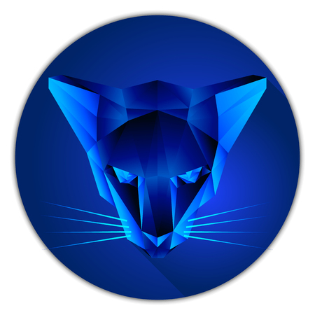 sapphire gemstone: Symmetrical vector illustration of a cat. Made in low poly triangular style. Sapphire gemstone imitation.