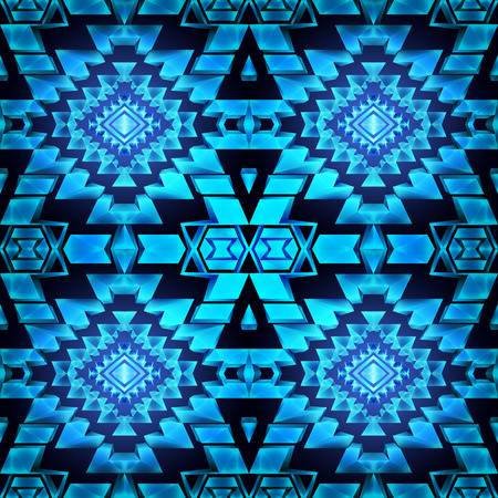 sapphire gemstone: Seamless boho chic pattern with tribal aztec ornament. Made in low poly triangular style. Sapphire gemstone imitation.
