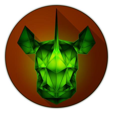 emerald gemstone: Symmetrical vector icon of a rhinoceros. Made in low poly triangular style. Emerald gemstone imitation.