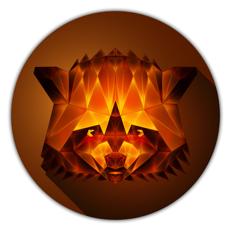 amber: Symmetrical vector icon of a raccoon. Made in low poly triangular style. Amber gemstone imitation.