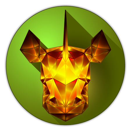 amber: Symmetrical vector icon of a rhinoceros. Made in low poly triangular style. Amber gemstone imitation.