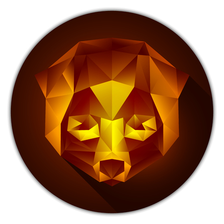 Symmetrical vector illustration of a lori. Made in low poly triangular style. Amber gemstone imitation.