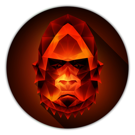 ruby gemstone: Symmetrical vector icon of a gorilla monkey. Made in low poly triangular style. Ruby gemstone imitation.