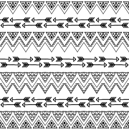 Seamless boho chic pattern with aztec elements. Abstract hand drawn wallpaper in ethnic style. Black and white. Çizim