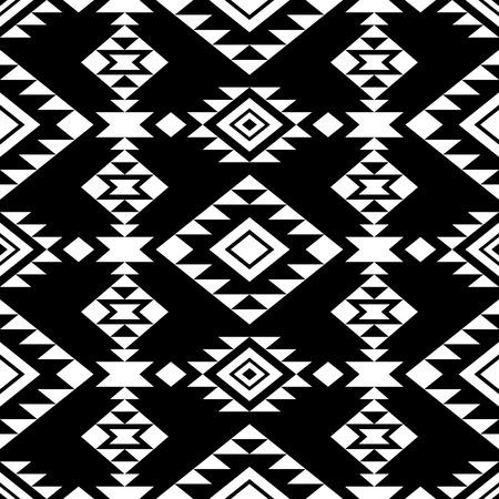 ネイティブ アメリカンの飾りと抽象的なシームレス パターン。部族のアステカ スタイル。黒の背景。