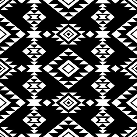 Abstract seamless pattern with native american ornament. Tribal aztec style. Black background.