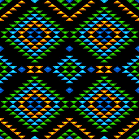 gemstones: Abstract seamless pattern with ethnic aztec ornament. Boho chic style wallpaper. Gemstones imitation.