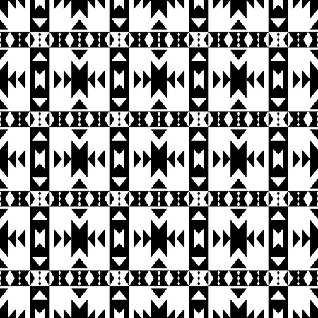 mexican folklore: Aztec seamless pattern. Black and white abstract wallpaper in boho chic style. Illustration