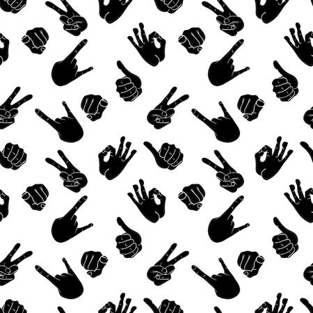 Naadloos patroon met verschillende handgebaren. Thumbs up, vrede, rots, OK, wijsvinger wijzend op de camera. Vector illustratie in comic cartoon stijl. Stock Illustratie
