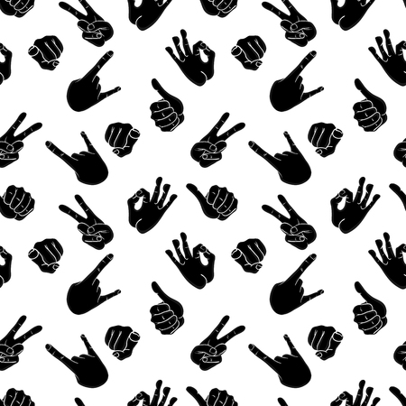 Seamless pattern with various hand gestures. Thumbs up, peace, rock, OK, index finger pointing at the camera. Vector illustration in comic cartoon style. Ilustração