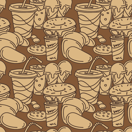 ginger bread: Vector wallpaper in comic cartoon style. Seamless pattern with pastry, sweets and soft drinks. Funny illustration of croissant, cookie, ice-cream, beverages, donut, etc.
