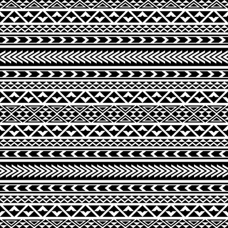 Black And White Seamless Pattern With Ethnic Aztec Ornament Abstract Wallpaper In Boho Style