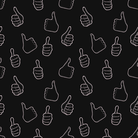 approvement: Seamless pattern with hand gestures in comic cartoon style. Vector illustration of human hands showing thumbs up. Illustration