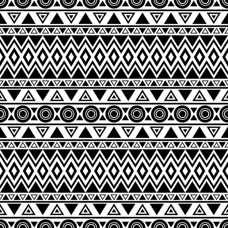 Triibal aztec seamless pattern. Abstract background in boho style. Folklore stylized print template for fabric, paper, etc. Black and white.