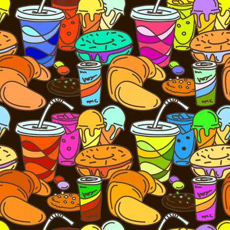 soft drinks: Bright colored seamless pattern in comic cartoon style. Vector illustration of sweets, soft drinks and pastry. Funny print template for textile, paper, bags, wrapping, etc. Illustration