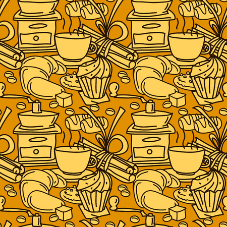 star anise: Seamless pattern with coffee, spices and sweets. Coffee mug, chcolate bar, cinnamon stick, star anise, pastry. Line art. Cartoon style.
