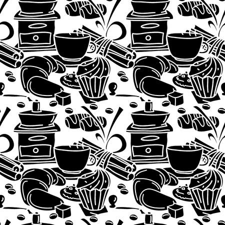 Bez szwu deseń z kawy, przyprawy i słodycze. Czarny i biały. Kubek kawy, czekolada do wysuwania, pałeczek cynamonu, anyż, ciasto. Sztuka linii. Styl kreskówki. Ilustracje wektorowe