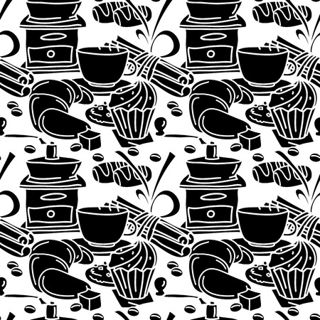 Seamless pattern with coffee, spices and sweets. Black and white. Coffee mug, chcolate bar, cinnamon stick, star anise, pastry. Line art. Cartoon style.
