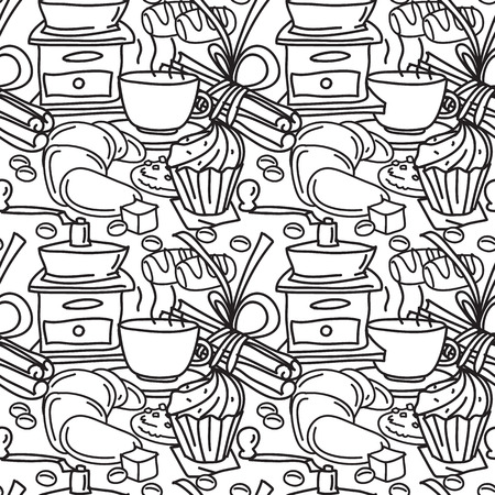 star anise: Seamless pattern with coffee, spices and sweets. Coffee mug, chcolate bar, cinnamon stick, star anise, pastry. Line art. Black and white illustration. Cartoon style.