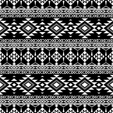 folklore: Boho chic seamless pattern with tribal aztec ornament. Folklore stylized abstract wallpaper. Black background.