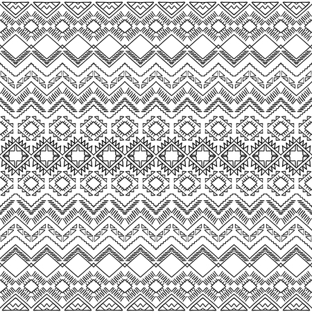folklore: Hand drawn seamless pattern in ethnic style. Tribal aztec background. Abstract wallpaper in boho style. Aztec pattern. Folklore stylized print. Aztec ornament.