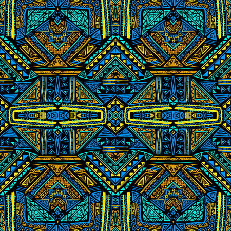 absract: Absract seamless pattern in boho style. Hand drawn aztec print template for fabric, paper, post cards, bags, wrapping, etc.