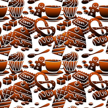 treats: Gradient colored seamless pattern with a cup of tea, pastry, chocolate, candy and other delicious treats. Can be used for textile or paper. Cartoon style.