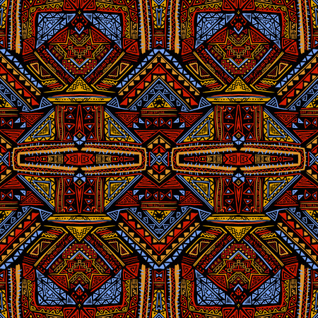folklore: Boho style seamless pattern with aztec ornament. Folklore stylized abstract print template for t-shirts, phone covers, wrapping, post cards, bags, etc.