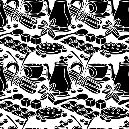 star anise: Seamless pattern with coffee, spices and sweets. Coffee mug, chcolate bar, cinnamon stick, star anise, pastry. Line art. Cartoon style. Black and white.