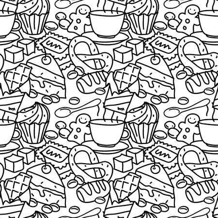 treats: Black and white seamless pattern with tea, sweets, pastry and other delicious treats. Tea print template for textile, paper, wrapping, gift cards, etc.