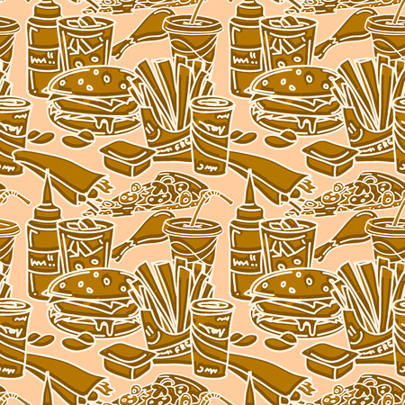 sauces: Fast food seamless pattern in brown shades. Vector illustration in comic cartoon style. Funny background with hamburger, hot dog, french fries, pizza, sauces, soda drinks, etc.
