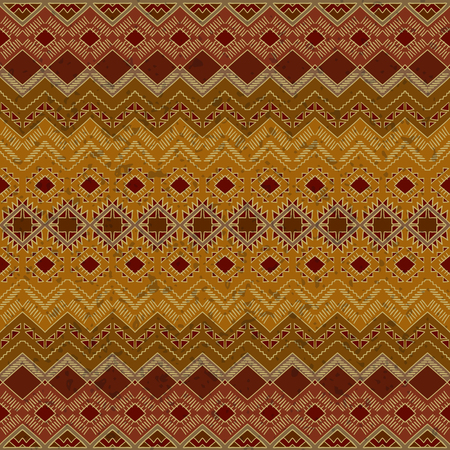 folklore: Hand drawn seamless pattern with ethnic motives. Tribal aztec background. Abstract wallpaper in boho style. Aztec pattern. Folklore stylized print. Aztec ornament.