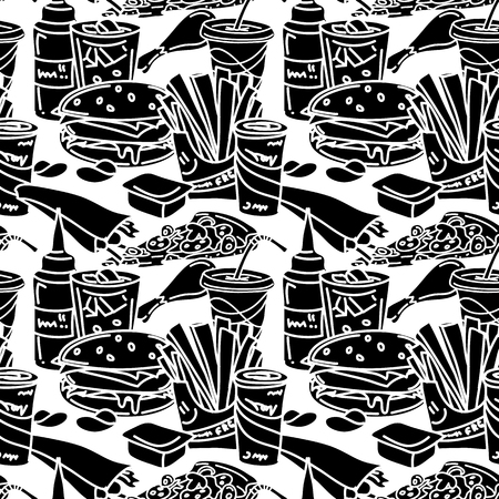 sauces: Fast food seamless pattern. Black and white. Vector illustration of hamburger, hot dog, french fries, chicken legs, sweet beverages, sauces, pizza, etc.