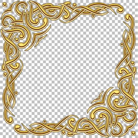 Marco de oro de frontera de vector con gemas. Diseño oriental. Vintage y elegante. Se puede usar para una interfaz de juego, invitaciones, tarjetas de regalo, etc. Foto de archivo - 55823378